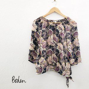 BODEN Floral Print Semi Sheer Blouse 3/4 Sleeves